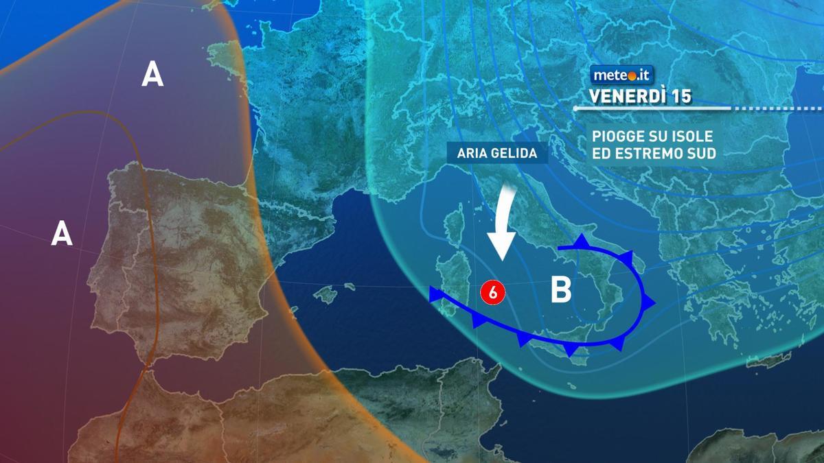 Meteo, venerdì 15 gennaio gelide correnti verso l'Italia