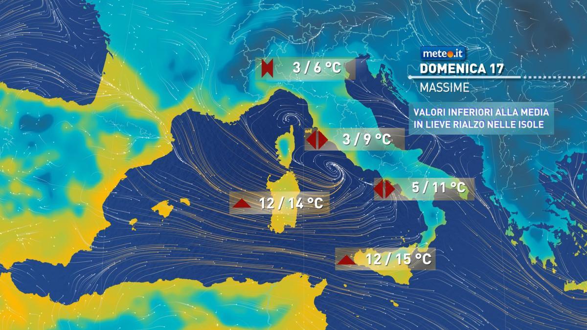 Meteo, domenica 17 gennaio l'Italia sarà attraversata da una veloce perturbazione, la n.7