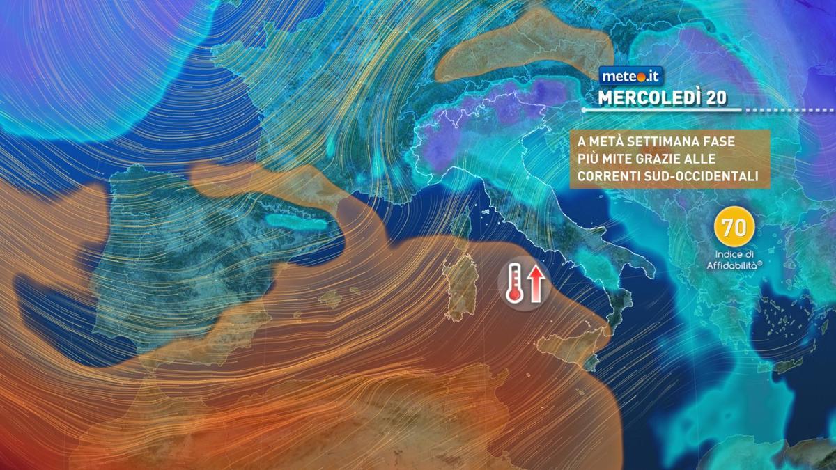 Meteo, tra il 18 e il 22 gennaio graduale aumento delle temperature