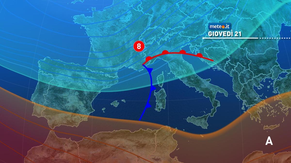 Meteo, da giovedì 21 gennaio torna il maltempo sull'Italia