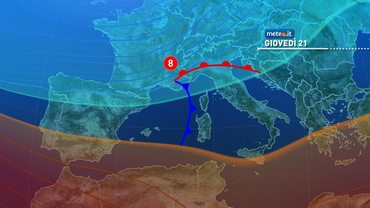 Meteo, tra il 21 e il 22 gennaio fase di maltempo sull'Italia