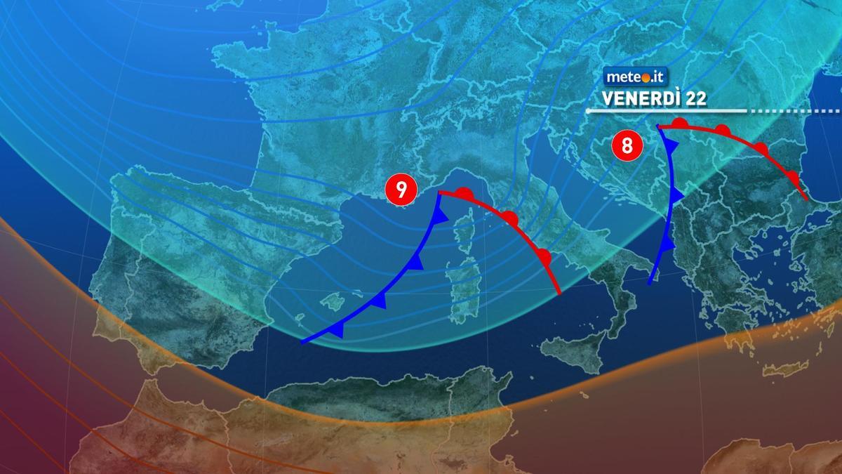 Meteo, venerdì 22 gennaio a rischio forte maltempo
