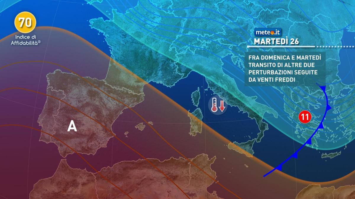 Meteo, dal 25 gennaio altre piogge e aria più fredda