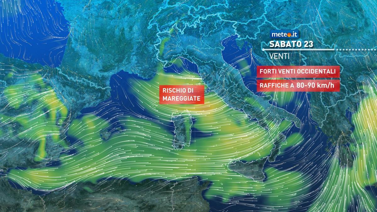 Meteo, maltempo e venti forti nel weekend del 23-24 gennaio