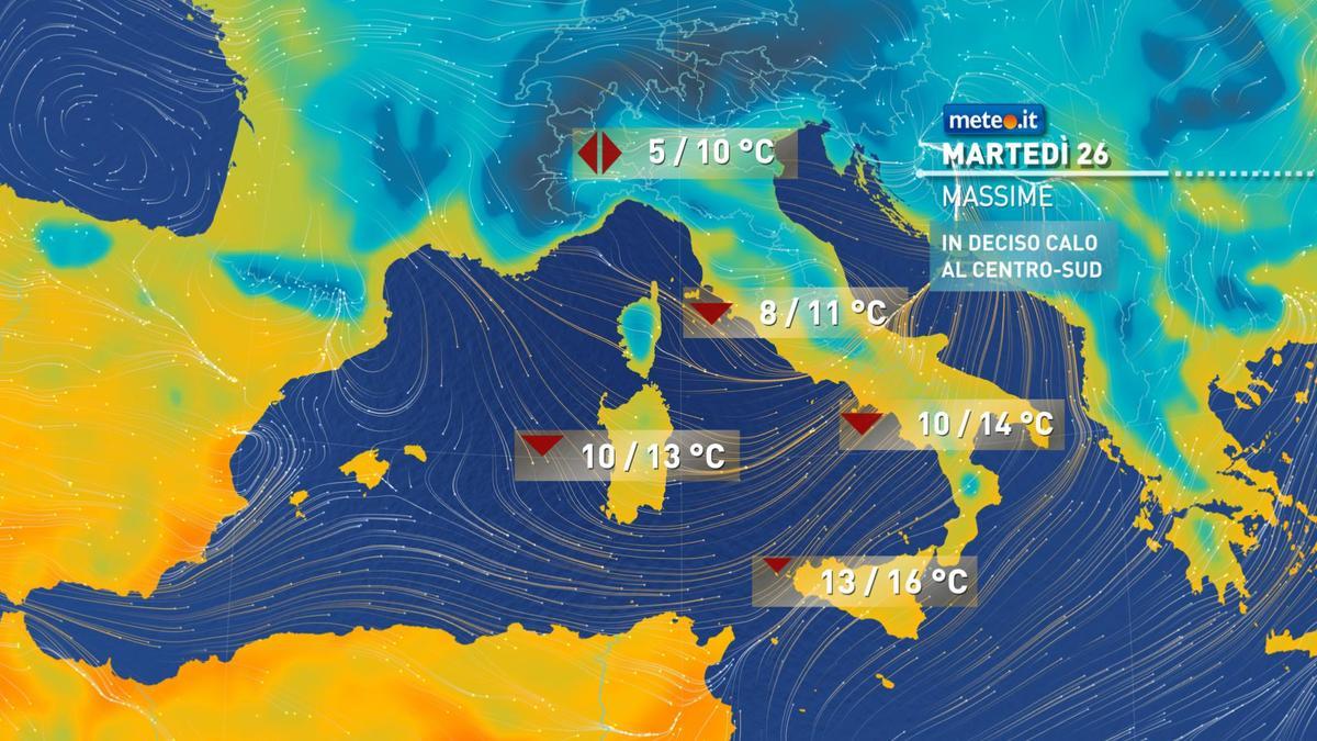 Meteo, martedì 26 gennaio freddi venti al Centro-sud