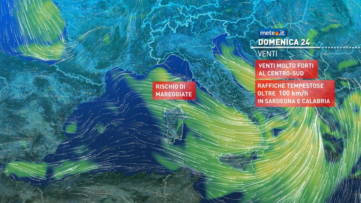 Meteo, 24 gennaio con venti intensi e maltempo al Centro-sud
