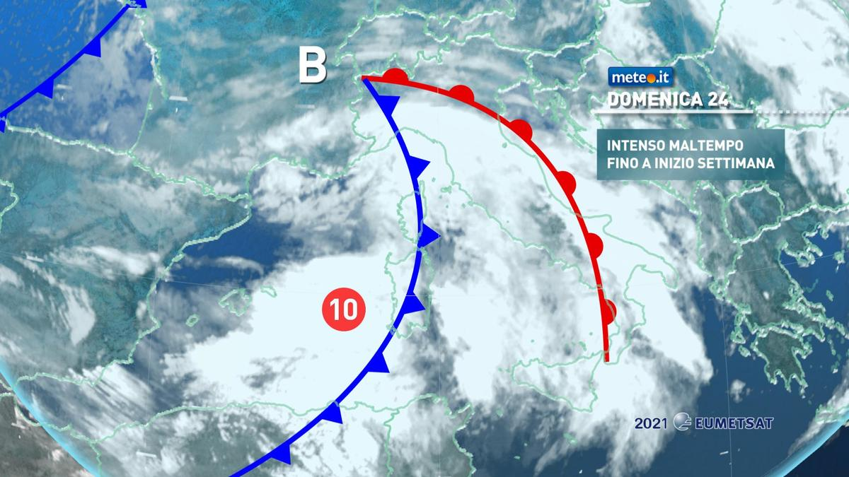 Meteo, 24 gennaio fase di forte maltempo al Centro-sud
