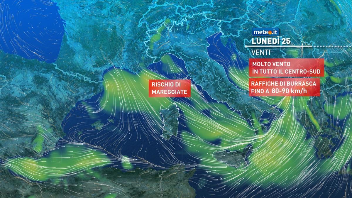 Meteo, lunedì 25 gennaio ancora piogge e vento al Centro-sud