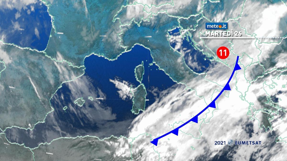 Meteo, 26 gennaio con piogge residue al Sud e venti freddi