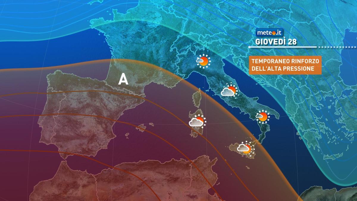 Meteo, giovedì 28 gennaio alta pressione in temporaneo rinforzo