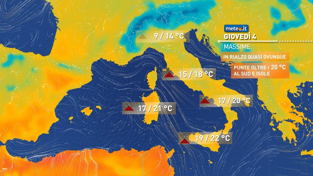 Meteo, oggi giovedì 4 febbraio, tempo stabile e temperature in aumento al Centro-Sud. Nuvole al Nord