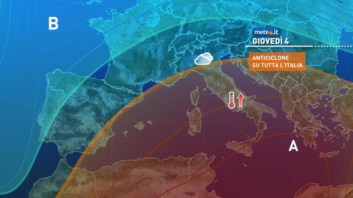 Meteo, giovedì 4 febbraio alta pressione africana in azione