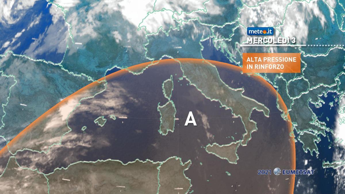 Meteo, mercoledì 3 febbraio alta pressione di matrice africana in rinforzo