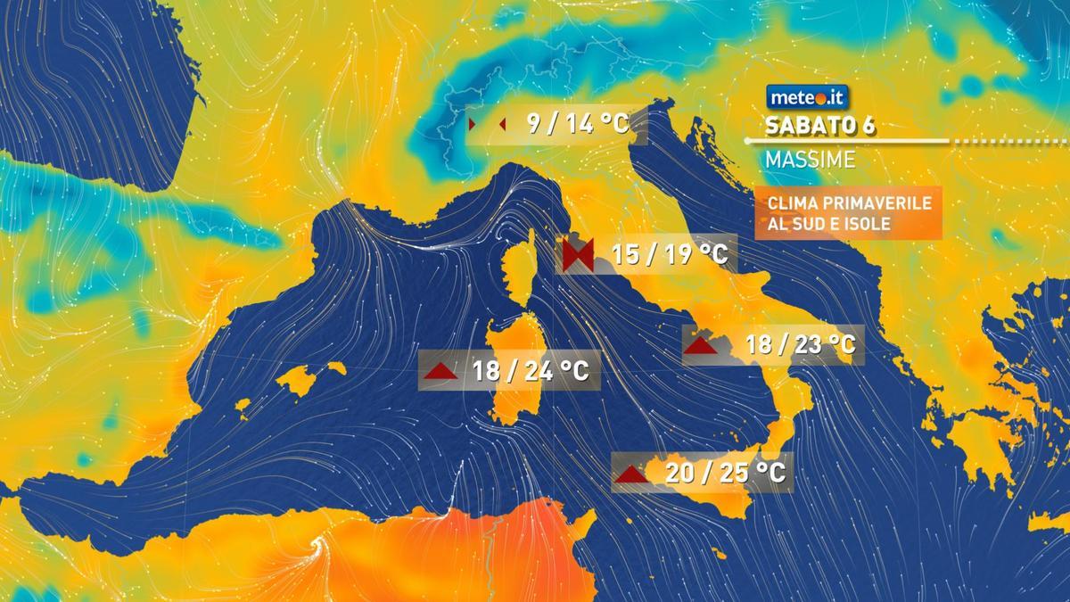 Meteo, oggi sabato 6 febbraio, in serata, torneranno le piogge