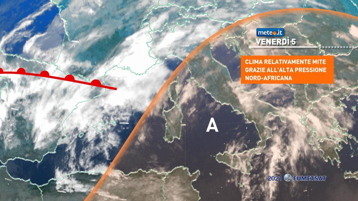 Meteo, alta pressione africana protagonista fino a sabato 6 febbraio