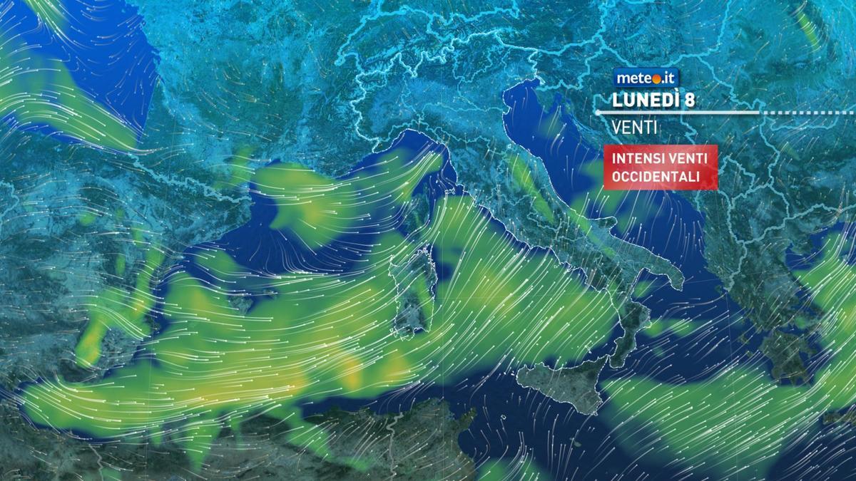 Meteo, 8 febbraio con pioggia in molte regioni e venti di burrasca