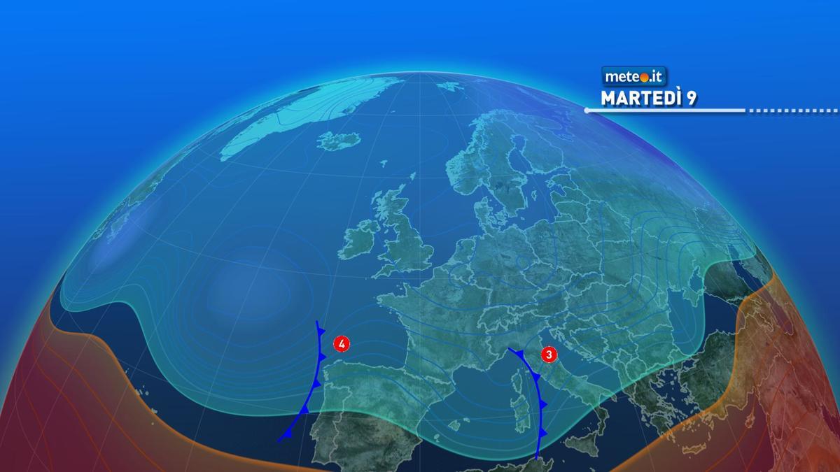 Meteo, tra martedì 9 e mercoledì 10 nuove fasi di maltempo sull'Italia