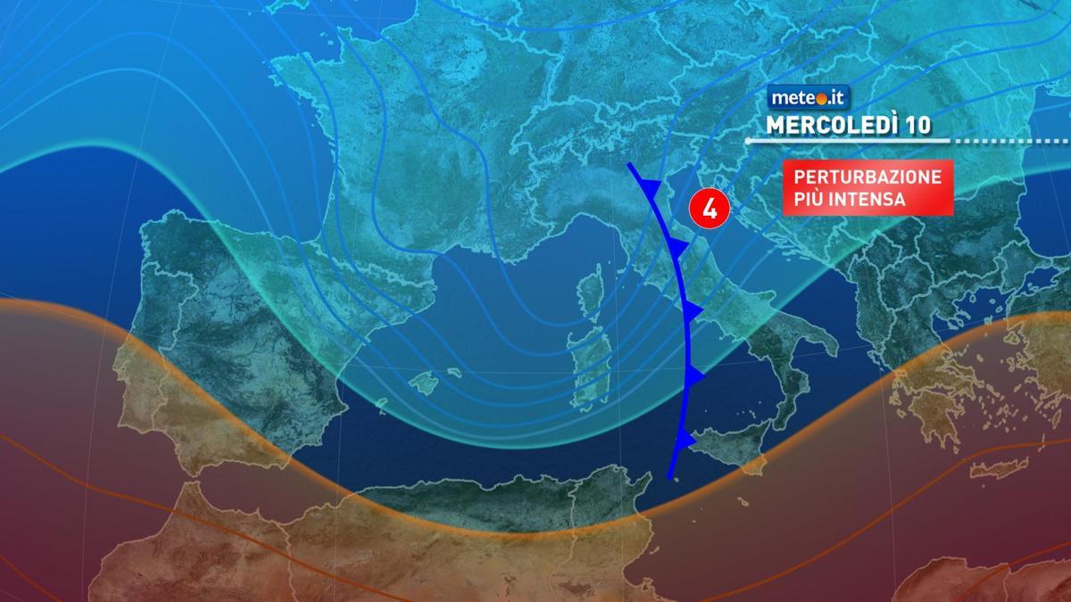 Meteo, maltempo mercoledì 10 febbraio poi correnti gelide
