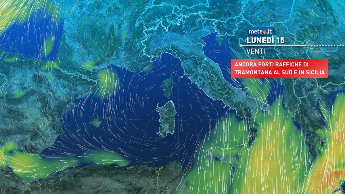 Meteo, lunedì 15 febbraio clima gelido con debole neve al Sud
