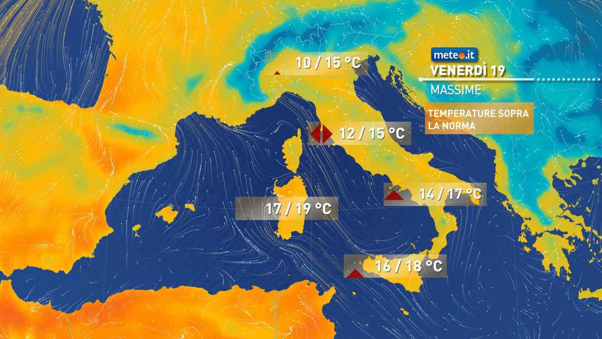 Meteo, da venerdì 19 febbraio temperature sopra le medie