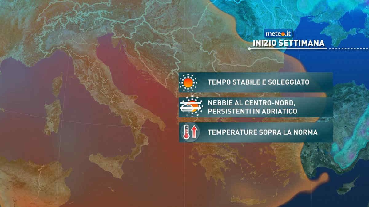 Meteo, alta pressione e tempo stabile anche tra il 22 e il 26 febbraio