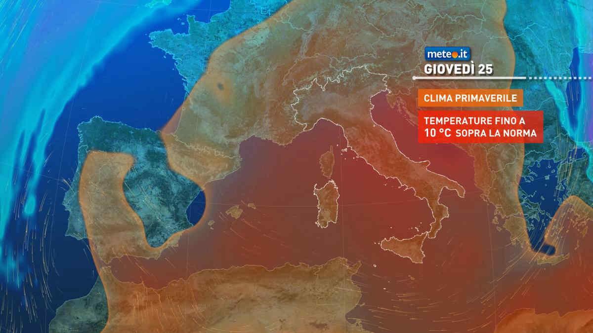 Meteo, da mercoledì 24 febbraio anomalia termica positiva particolarmente marcata