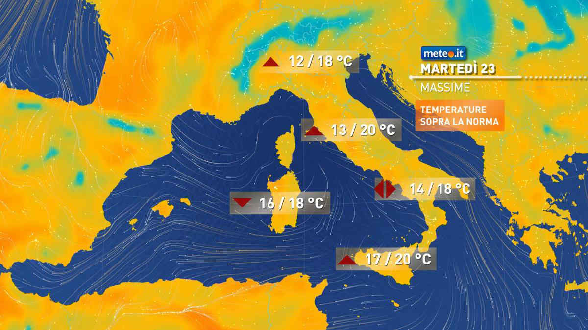 Meteo, martedì 23 febbraio temperature primaverili sull'Italia