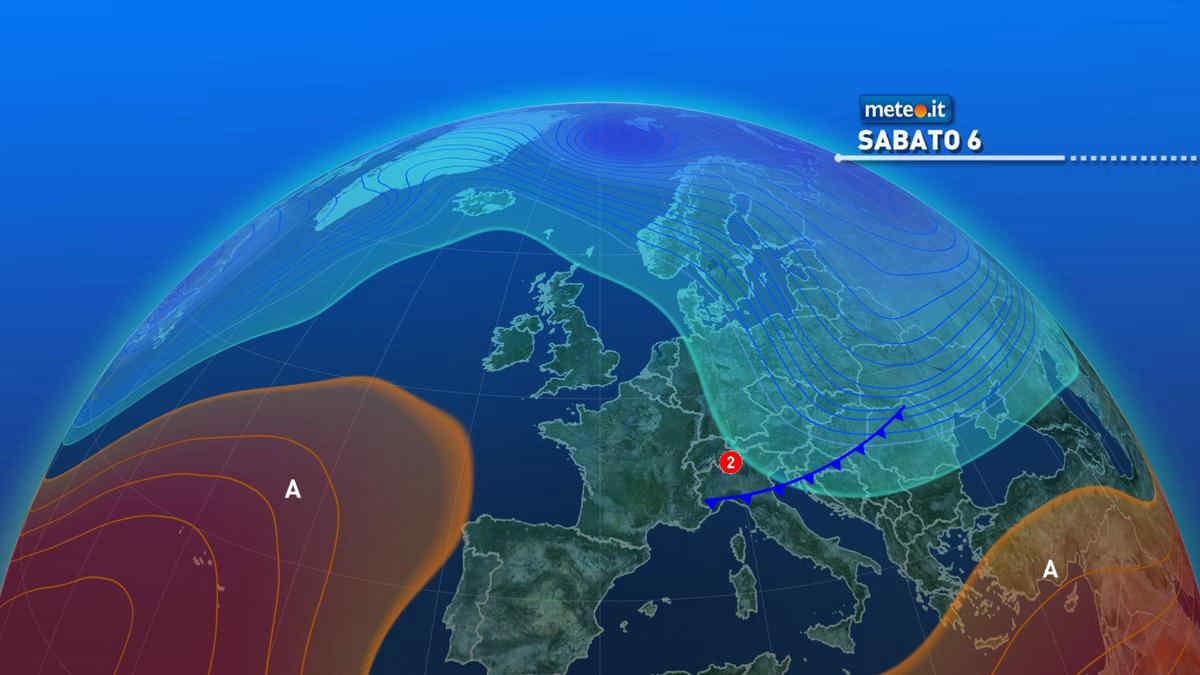 Meteo, sabato 6 marzo piogge e calo delle temperature