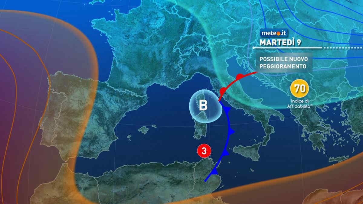 Meteo, tra l'8 e il 9 marzo nuova perturbazione sull'Italia
