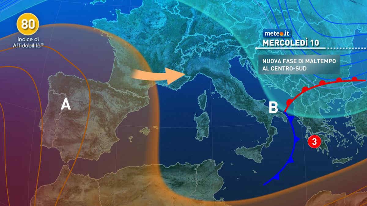 Meteo, mercoledì 10 marzo il maltempo si trasferisce al Sud