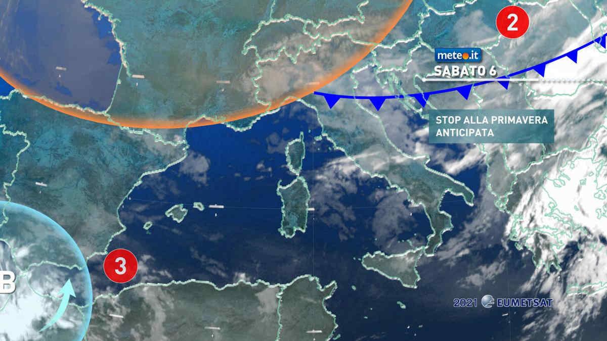 Meteo, 6 marzo con debole perturbazione in transito e calo termico