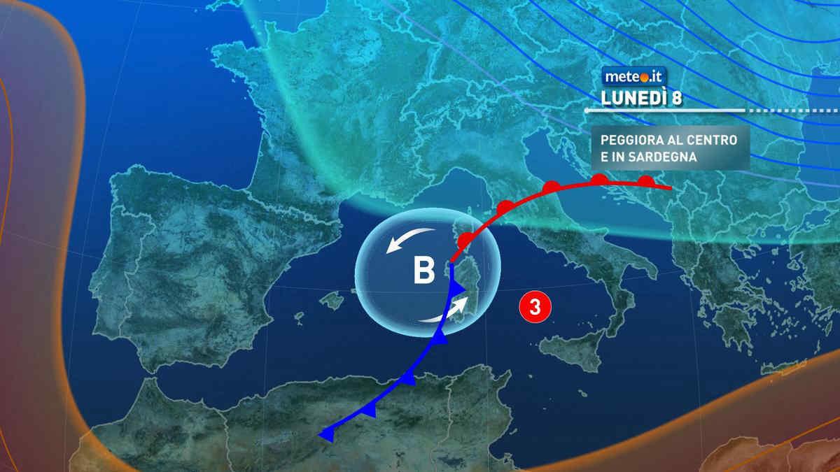 Meteo, lunedì 8 marzo maltempo su Sardegna e regioni del Centro