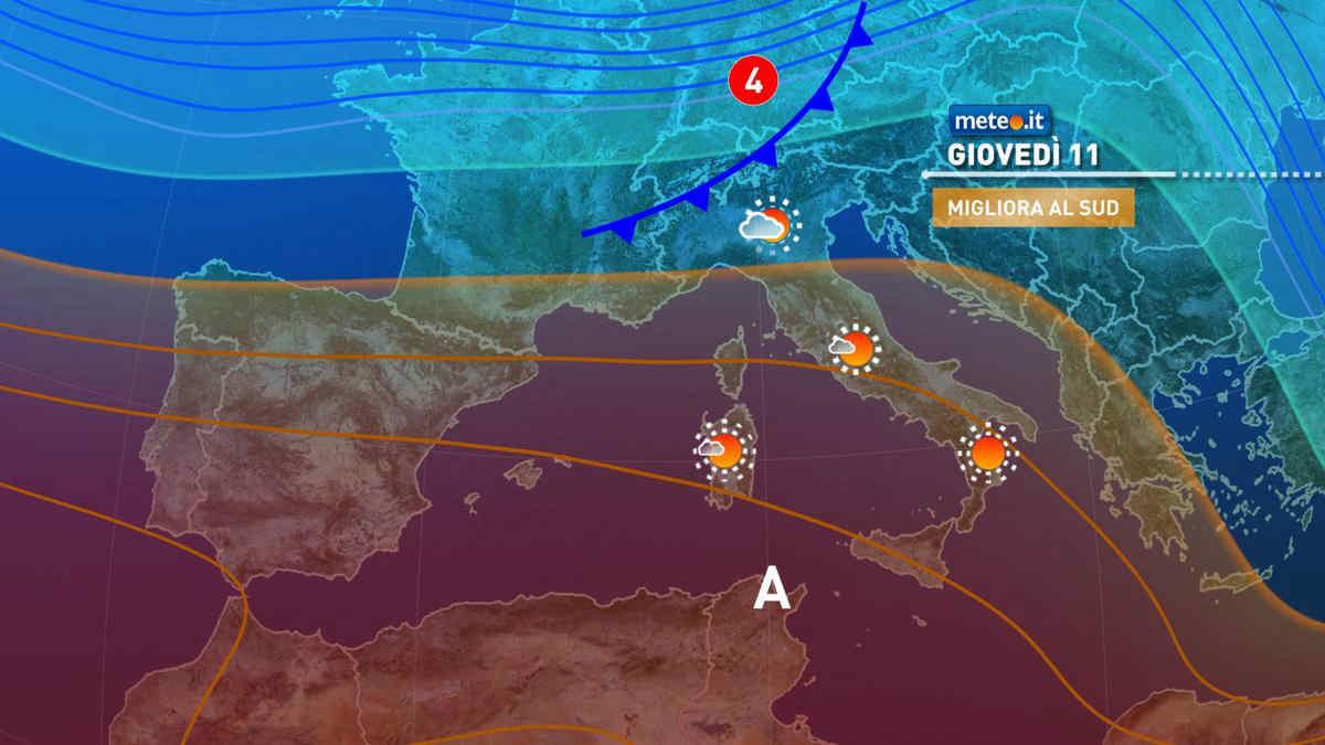 Meteo, giovedì 11 marzo e venerdì 12 condizioni ribaltate
