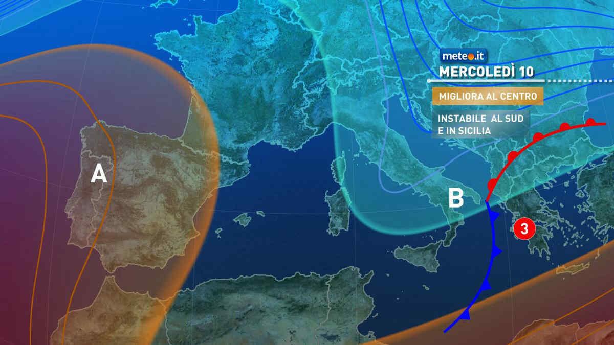 Meteo, mercoledì 10 marzo il maltempo si sposta al Sud
