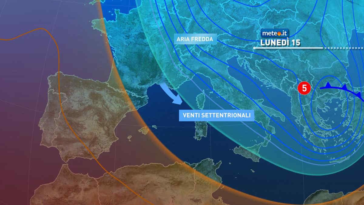 Meteo, 15 marzo con tempo instabile, venti di burrasca e freddo in aumento