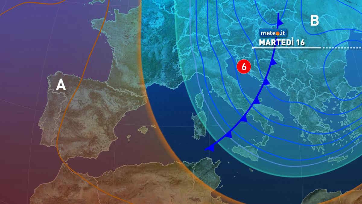 Meteo, martedì 16 marzo fronte freddo in arrivo