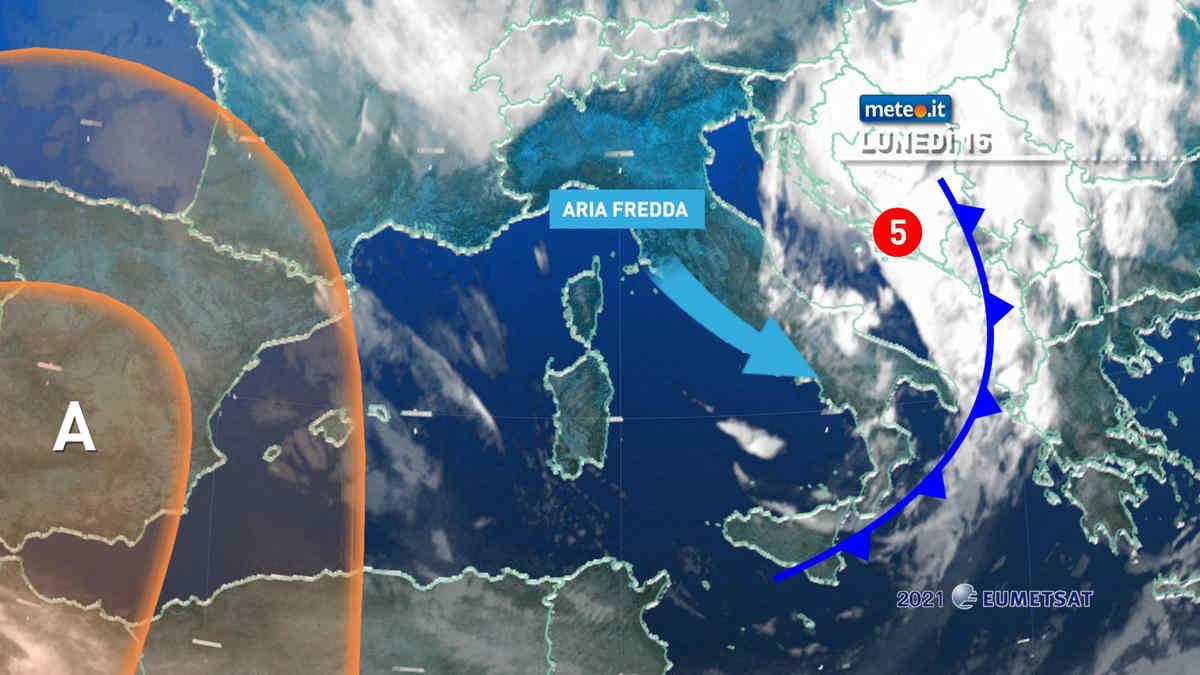 Meteo, 15 marzo con venti forti e calo termico