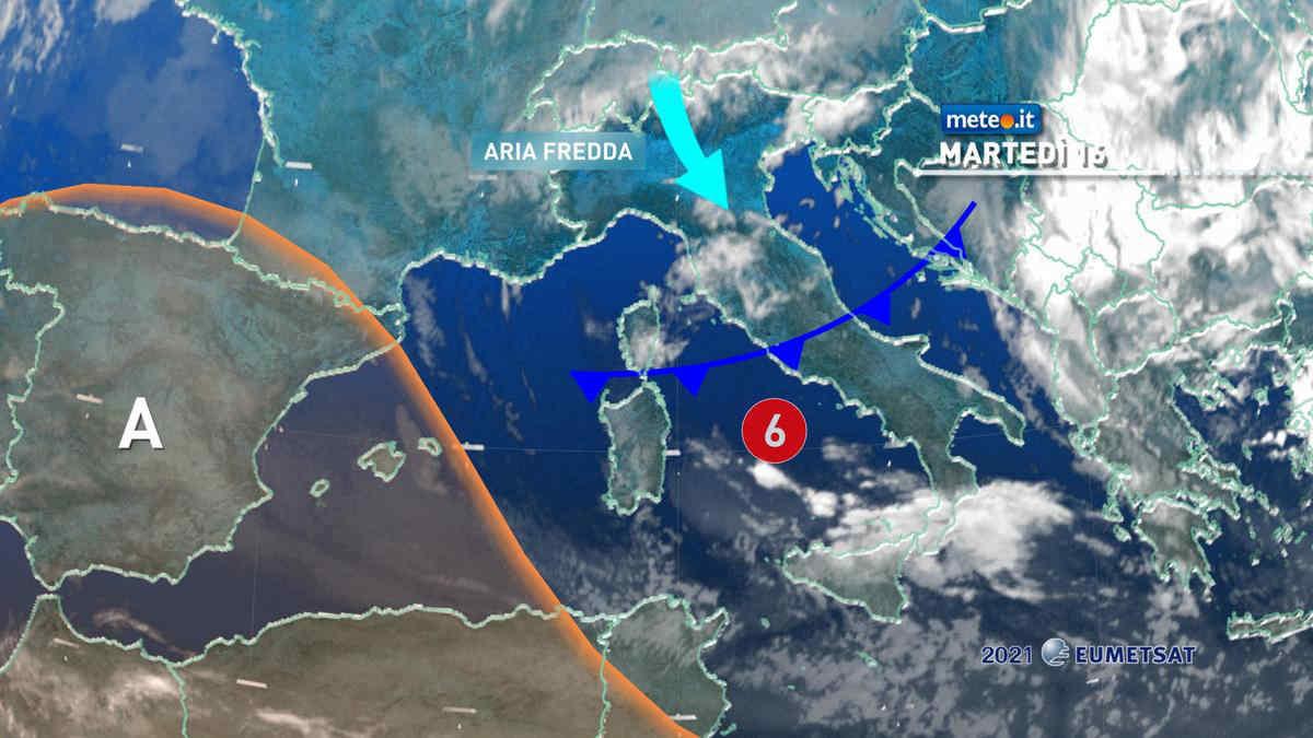 Meteo, 16 marzo con tempo instabile, vento intenso e freddo in aumento