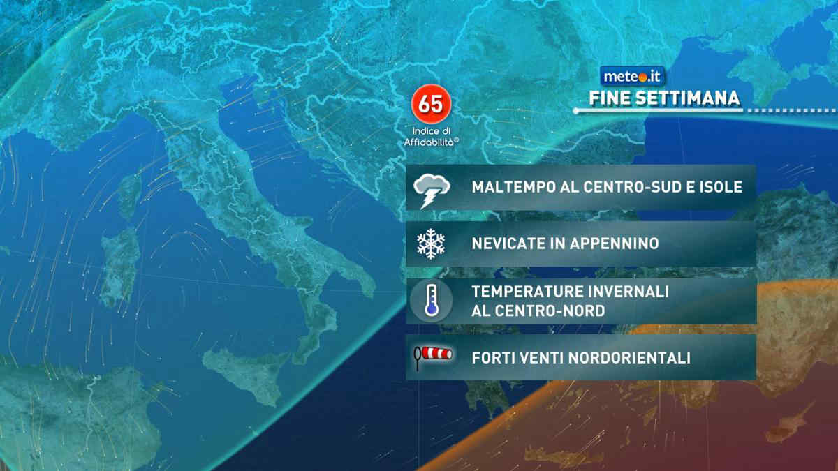 Meteo, weekend del 20-21 marzo: forte maltempo al Sud, freddo invernale al Centro-Nord