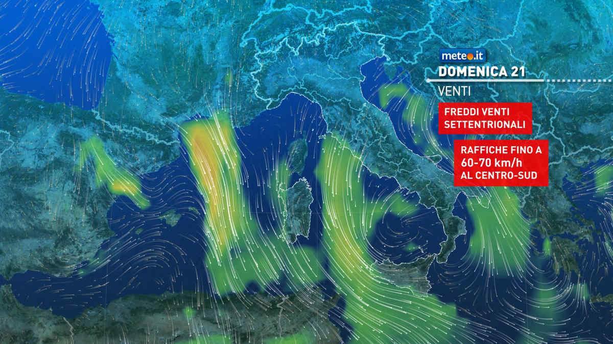 Meteo, affondo invernale sull'Italia domenica 21 marzo