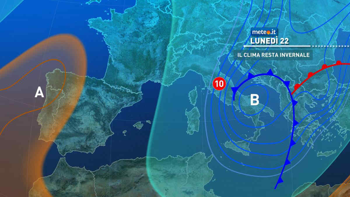 Meteo, lunedì 22 marzo clima invernale e freddi venti sull'Italia