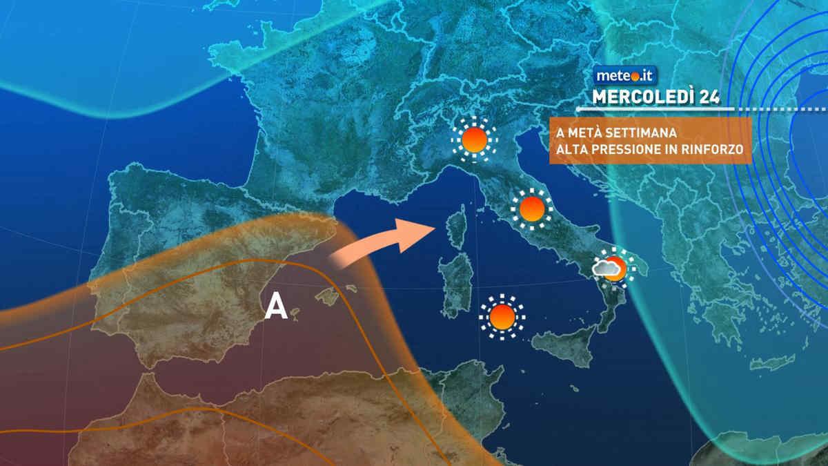 Meteo, da mercoledì 24 marzo temperature in aumento