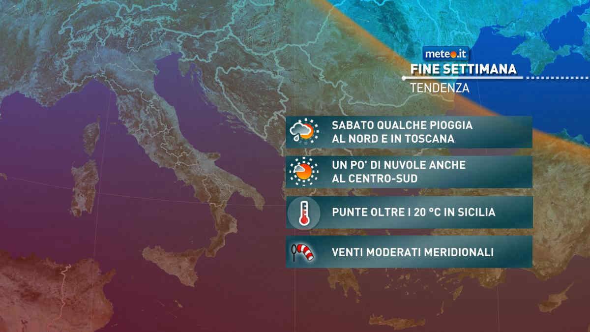 Meteo, weekend del 27-28 marzo con qualche pioggia al Nord e 20°C al Sud