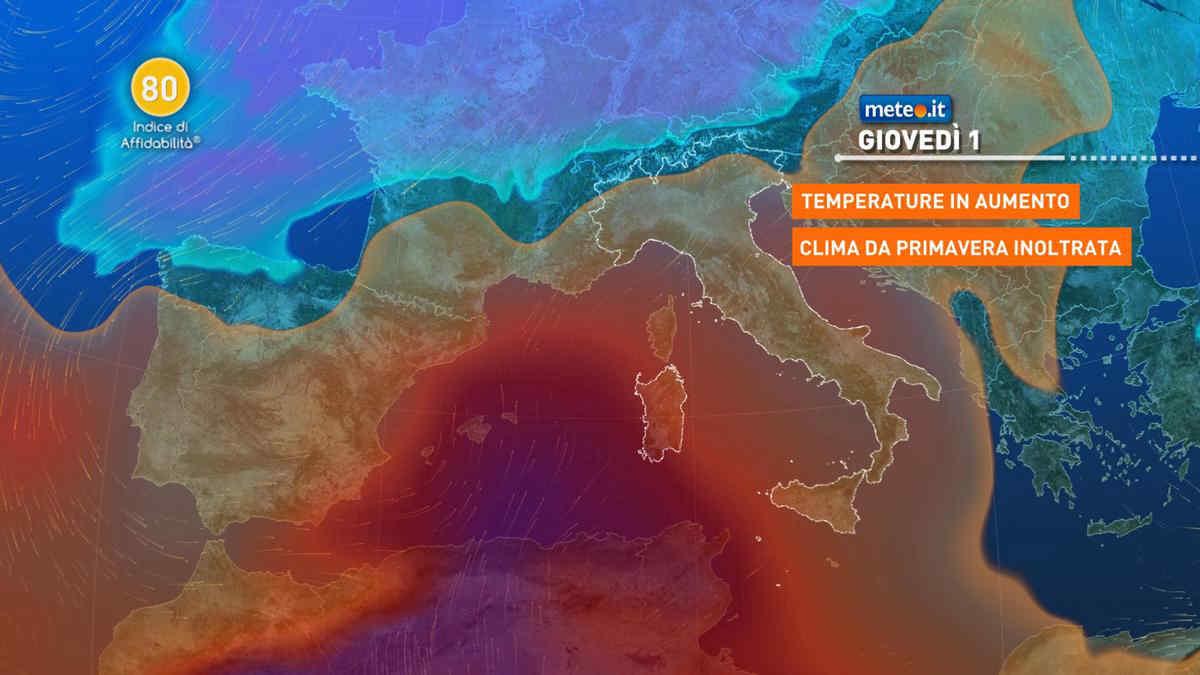 Meteo, tra martedì 30 marzo e giovedì 1 aprile alta pressione africana