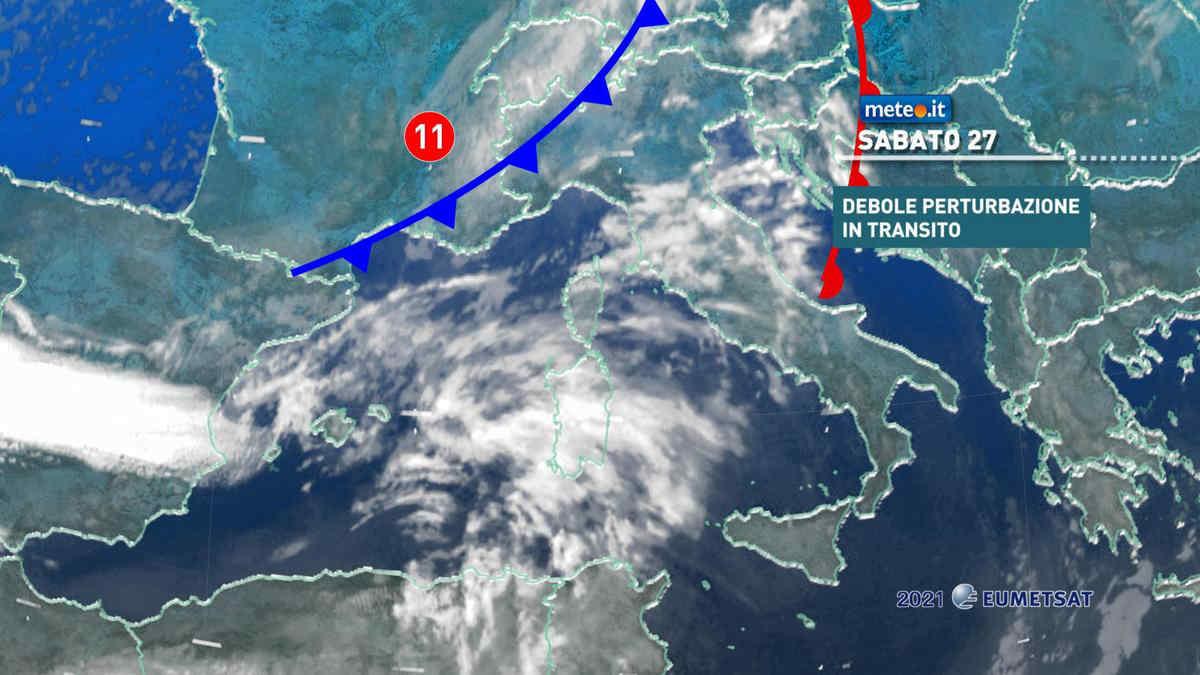 Meteo, sabato 27 marzo debole perturbazione in transito