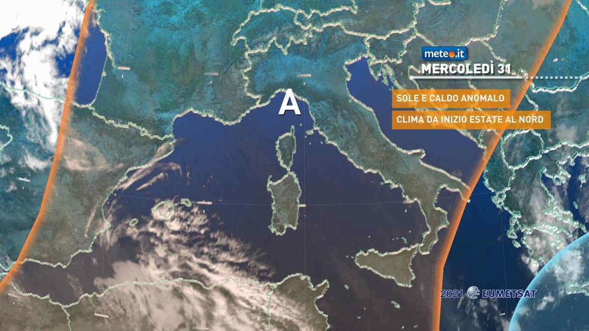Meteo, mercoledì 31 marzo e giovedì 1 aprile picco delle temperature