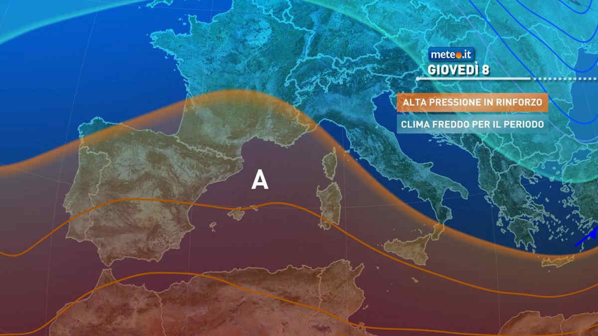 Meteo 8 aprile: Anticiclone in rinforzo