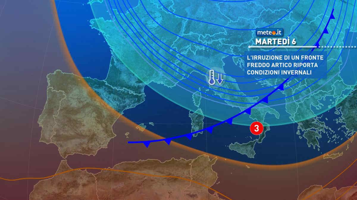 Meteo, tra il 6 e l'8 aprile fase invernale: forti venti e crollo termico
