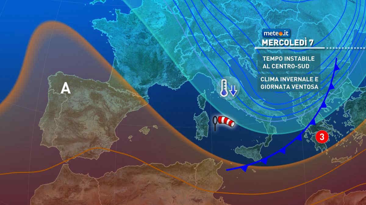 Meteo, 7 aprile clima freddo con instabilità al Centro-sud