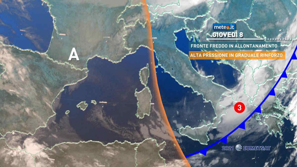 Meteo, giovedì 8 aprile alta pressione in rinforzo